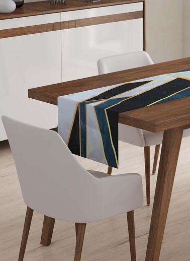 Lyn Home & Decor Runner Geometrik Mavi Beyaz Renkli